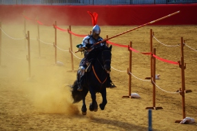 June 2013- A jouster representing the early Italian renaissance faces off in a classic jousting match. Unlike the kind seen at American Renaissance Festivals these matches are done traditionally, where serious injuries are common and a risk of death ever present.