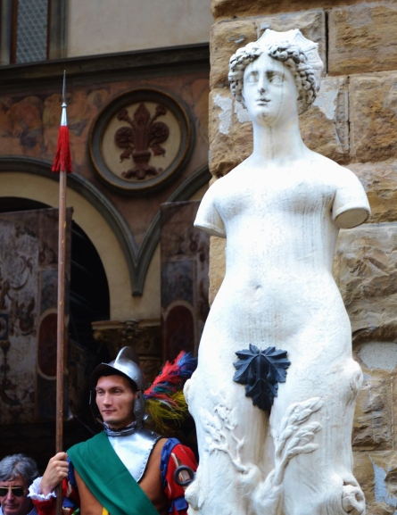 June 2013- A guard stands in front of the Palazzo Vecchio in a renaissance guard costume. The costuming is part of the celebrations that lead up to St. John the Baptist's Feast day and the Calcio Fiorentino.